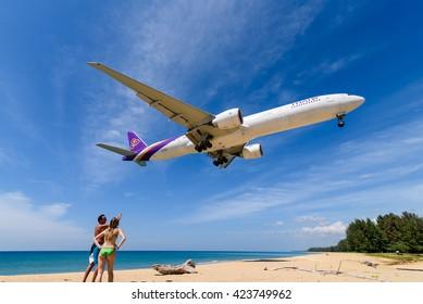 Phuket, Thailand - December 21,2015 : Thai airways airplane ,boeing 777, landing  at phuket airport