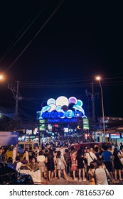 Phuket, Thailand - December 23, 2017: Bangla road in Patong city at night time with so many people
