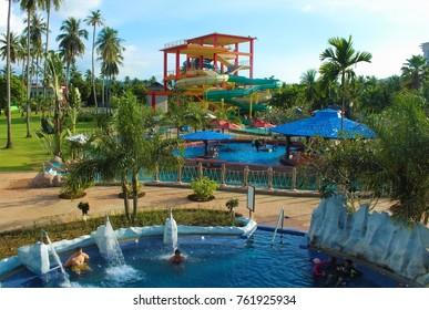 PHUKET, THAILAND - December 24, 2015: Splash Jungle Water Park - a part of the Centara Grand West Sands Resort & Villas at Mai Khao Beach.