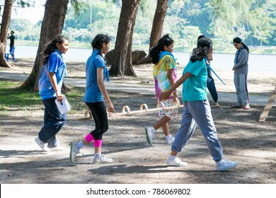Phuket: Thailand December 24: 2017 Unidentified Girls are happy with the scouts doing annual activities. Phuket: Thailand