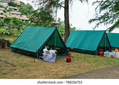 Phuket: Thailand December 24: 2017 Unidentified tourists camping in a place under the green pine. Phuket: Thailand