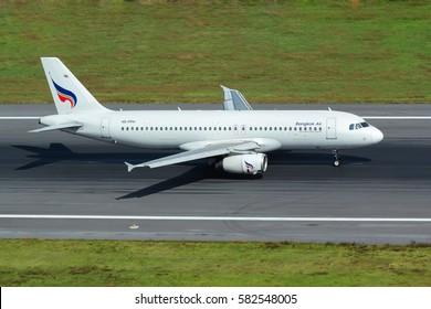 Phuket, Thailand. December 25, 2016. Bangkok Airways Airbus A320-232 Reg.HS-PPH Landing at Phuket International Airport.