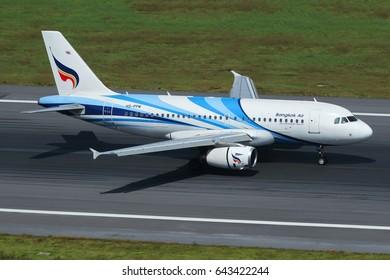 Phuket, Thailand. December 25, 2016. Bangkok Airways Airbus A319 Reg.HS-PPM Landing at Phuket International Airport.