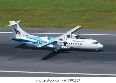 Phuket, Thailand. December 25, 2016. Bangkok Airways ATR 72 Taxi on Runway after Landing at Phuket International Airport.