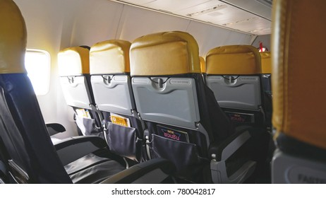 Phuket, Thailand - December 2nd, 2017: The image of passenger chairs in the airplane of Nok air airline routh Phuket to Bangkok and have the light from airplane's window.
