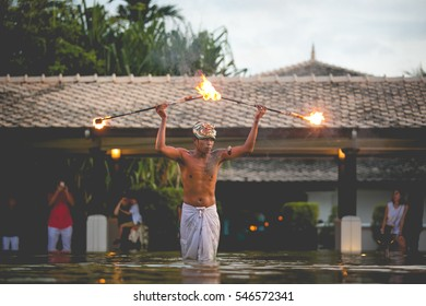 PHUKET, THAILAND - DECEMBER 30, 2016: New Year celebrations with a fire show for tourists in Phuket, Thailand.