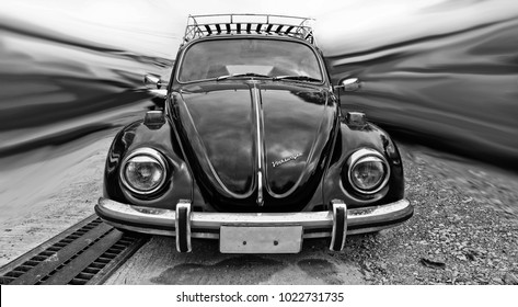 PHUKET, THAILAND - DECEMBER 30, 2017: Classic vintage car Volkswagen Beetle at the city street.