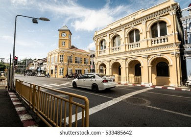 Phuket, Thailand - December 9, 2016 : Renovated Chino-Portuguese style building and clock tower in phuket old town. The chartered bank building in phuket.
