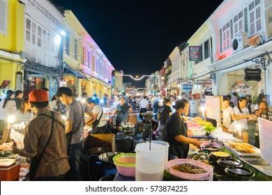 Phuket, Thailand - February 2, 2017: Tourist walking on 18th Phuket chinese new year day and old Phuket town Festival in Phuket, Thailand