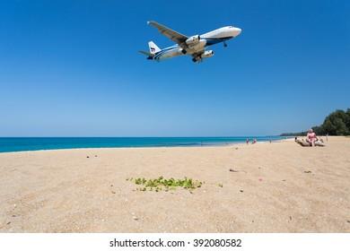 Phuket - Thailand - February 23,2016 :Bangkok Airways airplane is landing at Phuket airport over the Mai Khao beach in Thailand