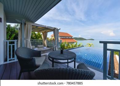 PHUKET, THAILAND - FEBRUARY 24 : The Balcony with beautiful of the sea view from hotel at Phuket Thailand on FEBRUARY 24, 2017.