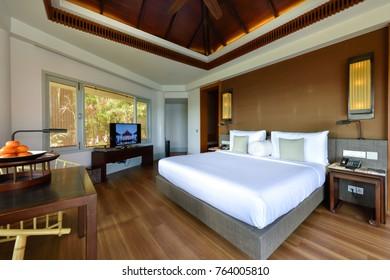 PHUKET, THAILAND -FEBRUARY 24 : Interior of a bedroom in a hotel at Phuket Thailand on FEBRUARY 24,2017.