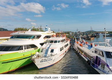PHUKET, THAILAND - FEBRUARY 24. Tourists, and locals on the ferry boat  to the Phi Phi Islands in the south of Thailand, located in the Andaman sea on February 24, 2017