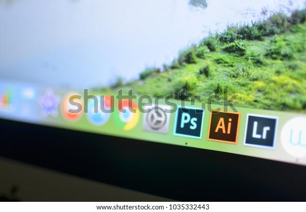 Phuket, Thailand : February 28, 2018 : Ai ( adobe illustrator) Ps (Photoshop) and Lr(Lightroom) program icon on the iMac macintoch personal table computer