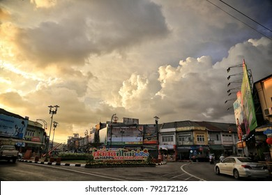 Phuket, Thailand - Jan 10, 2018: City view of Phuket Town and a dramatic cloudy sky before heavy rain breaks down.