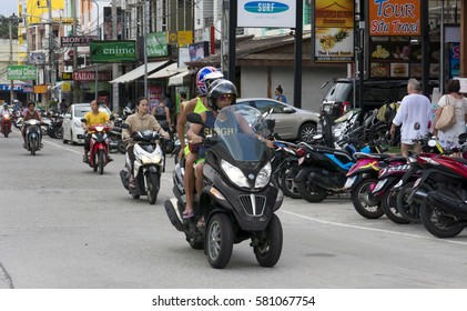 PHUKET, THAILAND -JANUARY 09, 2017:The busy intersection on the street of Phuket. Thailand