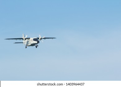 Phuket, Thailand. January 11, 2019. Royal Thai Navy Dornier Do-228-212 Reg.1111 on Short Final for Landing at Phuket International Airport with blue sky. copy space for text