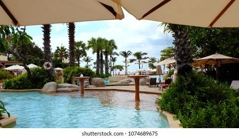 PHUKET, THAILAND- JANUARY 12.2018: The hotel area in a tropical resort hotel Centara Grand Beach Resort Phuket