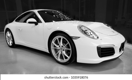 PHUKET, THAILAND- JANUARY 15.2018: Porsche 911 Carrera S in showroom.
