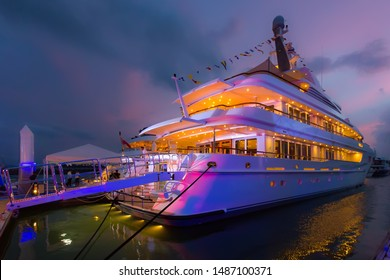 Phuket, Thailand - January 2017: Luxury VIP life on Super and Mega yachts. Happy rich people spend their holidays on huge ocean superyacht. Classic expensive super yacht interior. Luxury sea party