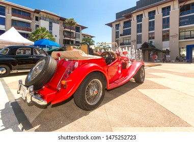 Phuket, Thailand - January 2019: Vintage classic MG Roadster 1948 (MG TC Midget ) in Phuket island. Beautiful oldtimer in very good condition