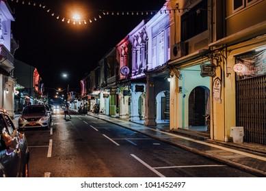 Phuket, Thailand - January 26, 2018: Evening street of Thalang in Phuket Town on January 26, 2018 in Phuket, Thailand