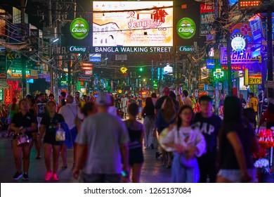 PHUKET, THAILAND - JULY 16, 2018: Infamous Bangla Walking Street near the beautiful tropical beach on Phuket Island, Thailand. Night time.