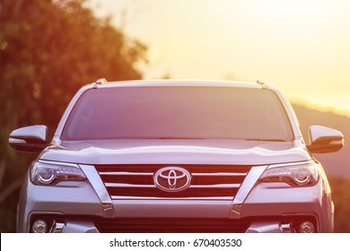 PHUKET, THAILAND - JULY 2 : Private car, Toyota All New Fortuner parking on the asphalt road in Phuket on July 2, 2017. The official dealer of Toyota, who is the top market share for commercial car.