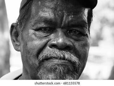 PHUKET, THAILAND - JULY 20,2017 : Old asian man in Thalang District , Black and White concept