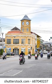 Phuket, Thailand - July 21, 2017: Clock tower is seen along the street in Phuket old town area Phuket, Thailand.
