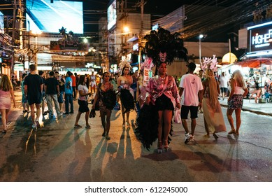 Phuket, Thailand - July 25, 2016: Bangla Road in the Patong area of Phuket on July 25, 2016 in Phuket, Thailand