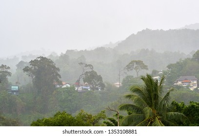 PHUKET, THAILAND - JULY 28, 2018: Tourist villas on the hills in the tropical rain.