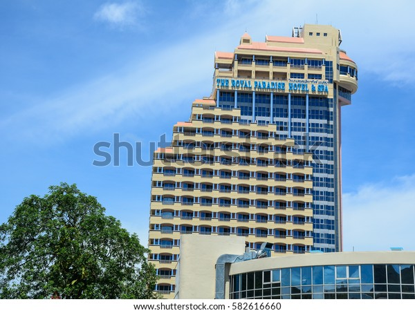 Phuket, Thailand - Jun 19, 2016. A luxury hotel building located in Phuket, Thailand. Phuket, a rainforested, mountainous island in the Andaman Sea.