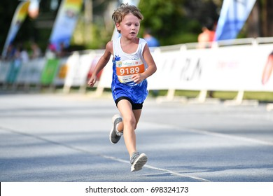 PHUKET, THAILAND - JUNE 03: Unidentified young athletes the Kids' Run at the Laguna Phuket International marathon at Laguna on June 03, 2017 in Phuket, Thailand.