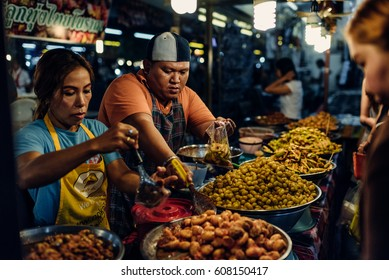 Phuket, Thailand - June 20, 2016: Food on the market in Thalang Street in Phuket Town on June 20, 2016 in Phuket, Thailand