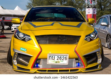Phuket, Thailand - June 2016: Tuning TOYOTA Vios and Yaris at Toyota Motor Show Fast Fun Fest in Saphan Hin Park, Phuket Island, Thailand. Toyota Gazoo Racing, TRD and Toyo tires tuning kit cars.