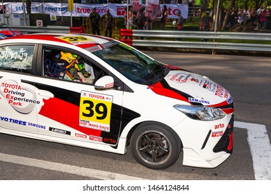 Phuket, Thailand - June 2017: Tuning TOYOTA Vios and Yaris at Toyota Motor Show Fast Fun Fest in Saphan Hin Park, Phuket Island, Thailand. Toyota Gazoo Racing, TRD and Toyo tires tuning kit cars.