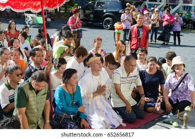 PHUKET THAILAND .JUNE 3, 2017:ceremony to bless the young men into the monk.