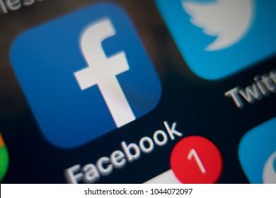 PHUKET, THAILAND - MAR 12, 2018: iphone home screen of social media app icon, facebook and twitter, macro shot