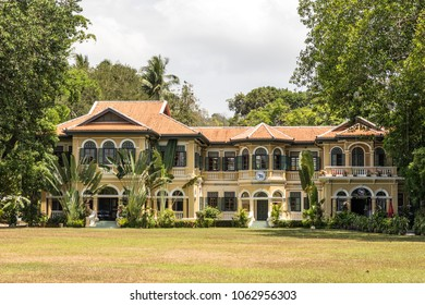 Phuket, Thailand - Mar 25, 2018 : Sino Portuguese architecture of the Blue Elephant Cooking School and Restaurant at Old Town Phuket.