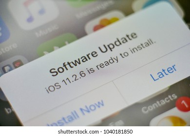 PHUKET, THAILAND - MAR 7, 2018: apple iphone with software update version 11.2.6 message alert on screen, selective focus