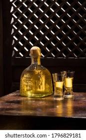 Phuket, Thailand – March 2020. Bottle of Tequila Patron Anejo 0,7 liter, 40%Vol
