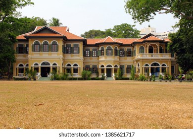 PHUKET, THAILAND - MARCH 23, 2019 : Baan Chinpracha is a stately Sino-Colonial mansion at the edge of Phuket's Old Town area, and only historical home where visitors are allowed a peek inside.