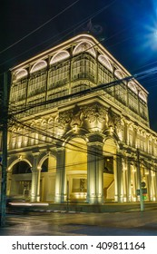 Phuket, Thailand - March 26, 2016: The most beautiful Kasikorn Bank building with Sino-Portuguese architecture style in Thailand