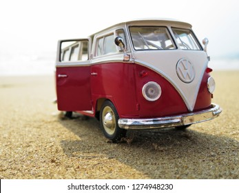 PHUKET, THAILAND - MARCH 27, 2015: Miniature VW Bulli 1962 on the beach. The cult car of the Hippie generation and it remained the status vehicle of the high wave surfers