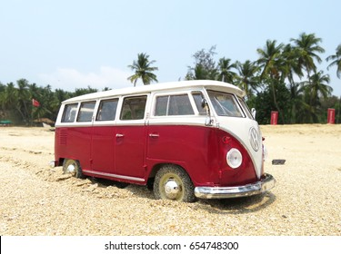 PHUKET, THAILAND - MARCH 27, 2015: Miniature VW Bulli 1962 on the beach. The cult car of the Hippie generation and it remained the status vehicle of the high wave surfers.