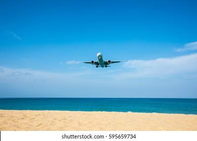 Phuket, Thailand - March 4, 2017 : plane landing