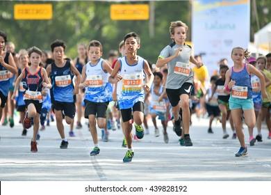PHUKET, THAILAND - MAY 04: Unidentified young athletes  the Kids' Run at the Laguna Phuket International marathon at Laguna on May 04, 2016 in Phuket, Thailand.