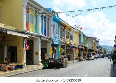 PHUKET, THAILAND - MAY 19, 2019 : Thalang Road with old buildings in Sino Portuguese style in Phuket Old Town.