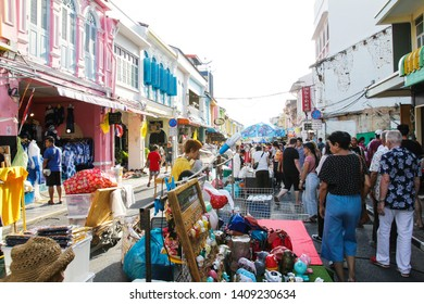 PHUKET, THAILAND - MAY 19, 2019 : Phuket Walking Street (Lard Yai) is street food market at Thalang Road each Sunday in Phuket Old Town.